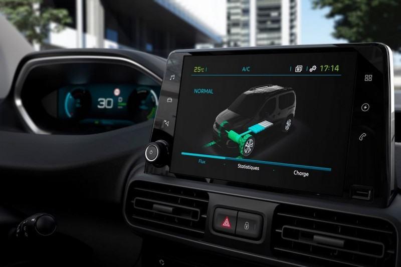 écran de contrôle du Peugeot e-Partner